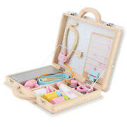Doctor Nurse Kits Pretend Play Tools Carry Case Children Wooden Toy