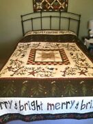 Christmas Full Size Quilt, Handmade Winter Bedroom Decor, Machine Quilted