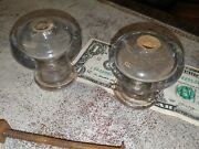 2 Antique Vtg Large Cabinet Knobs Clear Smooth Glass Drawer Pulls