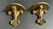 Pair Rare Vintage Old Wood Gold Feather Roses Shelves Sconces Antique Stamped