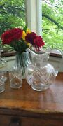 Antique Serving Set Pitcher Carafe 2 Matching Tumblers Hand Blown Floral