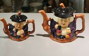 2- Vintage Shorter And Son Genuine Staffordshire Hand Painted Toby Teapot England