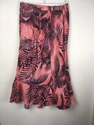 Marks And Spencer Long Linen Skirt Tropical Print Flared Floaty 14 Navy And Coral