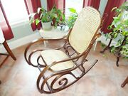 Vintage Bentwood Rocking Chair Thonet Style Dark Wood Made In Poland