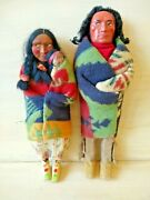 Skookum Doll Indian Chief And Squaw W Baby 12-14andrdquo Vintage Set Of 2 Dolls + Baby