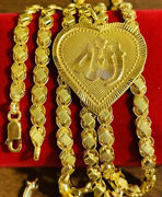 22k Real Saudi Uae Fine Gold 916 Womenandrsquos Heart Allah Necklace 20andrdquo Long 6mm 17.71
