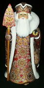 Wow Amazing Hand Painted Red And Gold Russian Santa W/ Beaded Cloak 1978