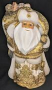 Wow Exquisite Gold And Blue Russian Handpainted Santa 3493 W/holiday Street Scene