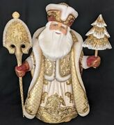 Wow Regal Handpainted Gold And Burgundy Russian Santa Claus W/christmas Tree 6594