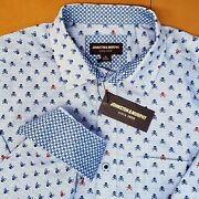 Rare Discontinued Johnston And Murphy Skull And Crossbones Dress Shirt New Size M