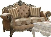 Acme Ragenardus Loveseat With 2 Pillows In Fabric And Vintage Oak Finish 56031