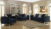 Acme Phaedra Sofa With 5 Pillows In Blue Fabric Finish 52830