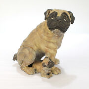 Cold Painted Bronze Pug Dog And Puppy Figure From The Mario Buatta Collection - Br