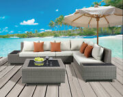 Acme Salena Patio Sectional And Cocktail Table In Beige Fabric And Gray 45020
