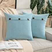 Pack Of 2 Chenille Rustic Farmhouse Decorative Throw 18and039and039x18and039and039 Light Blue