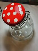 Amicl Glass Canister/jar Clear Leaning W/red And White Polka Dot Lid 8 Tall