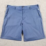 Adidas Shorts Menand039s 40 Polyester Blue Flat Front 3 Stripes Golf Casual 9 Inseam