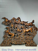 24 Rare Old China Boxwood Hand Carving Eight Horses Success Folding Screen