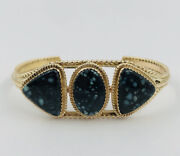 Ray Delgarito Navajo New Lander Blue Turquoise And 14k Yellow Gold Cuff Bracelet