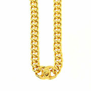 Coco Logos Turn Lock Long Necklace Gold 96a Accessory Vintage 90133889