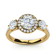 Solid 14k Yellow Rings 1.36 Ct Round Natural Diamond Engagement Ring Size M N O