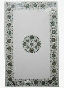 Shiny Gemstones Inlaid Coffee Table Top White Marble Kitchen Table 30 X 48 Inch