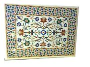 Marble Inlay Table Top With Multi Gemstones Work Patio Coffee Table 36 X 48 Inch