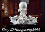 18and039and039 Ming Dynasty Dehua Porcelain Dragon Head Water Spouting Fish Beads Statue