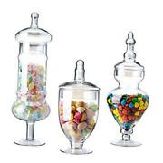 Set Of 3 Apothecary Jar Glass Wide Mouth Storage Candy Jar Decorative Clear