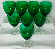 8 Anchor Hocking Bubble Green 4 3/4- 4 Oz Juice Goblets