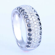 Round Full Cut Solid 10k White Gold Natural Diamonds And Black Diamonds Band Ring