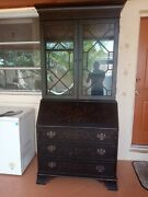 Secretary Desk With Lighted Hutch Antique Style By Ethan Allen