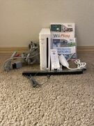 Nintendo Wii Rvl-001 With Wii Sports Bundle 1 Remote And Nunchuck Tested Working