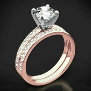 Solitaire 0.90 Ct Real Diamond Wedding Ring 14k Rose Gold Band Set Size 5 6 7 8
