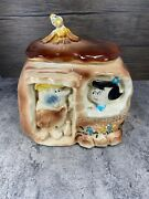 American Bisque Vintage And Rare Cookie Jar Of Barney And Betty Rubble's Home.
