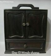 Old Chinese Ebony Wood Carved Portable Cabinet Cupboard Drawer Locker Statue