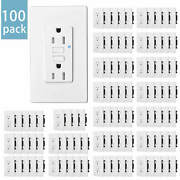 100pcs Tamper Resistant Gfci Outlet 15amp Duplex Receptacle W/ Wall Plate White
