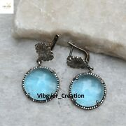 Sale Pave Diamond Blue Topaz Dangle Earrings 925 Solid Silver Thanksgiving Gift