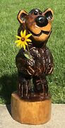 Chainsaw Carved Bear Carving Wooden Log Cabin Rustic Country Decor