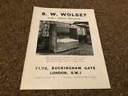 Aabk9 Antiques Advert 11x9 S. W. Wolsey And Gothic Alcove Bed