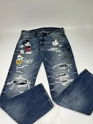 New American Eagle Outfitter Aeo X Disney Mickey Mouse Distressed Jeans 31x30