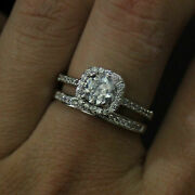 Round 1.20 Ct Diamond Engagement Ring Set For Women Solid 14k White Gold Size 7