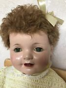 Big Beautiful 27''. Antique Vintage Composition Baby Doll . Effanbee Loves.