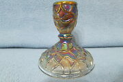 Vintage Imperial Soda Gold Carnival Glass Candle Stick Holder Smoke 3 1/2 Tall