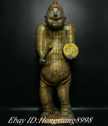 35.5 Old Chinese Zhan Dynasty Bronze Ware Gild Drummer People Person Statue