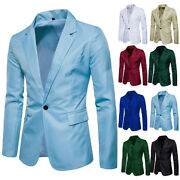 Menand039s One Button Business Formal Blazer Dress Suit Coat Jacket Casual Slim Tops