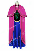 Frozen Cosplay Costume Anna Princess Daily Dress Pink Cloak Outfit