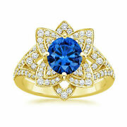 Solid 18k Yellow Gold 1.91 Ct Real Diamond Wedding Blue Sapphire Ring Size M N P