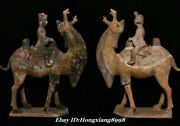 26.3 Old China Dynasty Tang Sancai Porcelain People Camel Animal Statue Pair