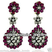 Victorian 4.06ct Antique Cut Diamond Ruby Studded Silver Wedding Earring Jewelry